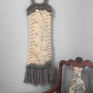 Boho braided wall tapestry gray and off white